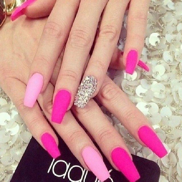 pink matte nails- bling nails - black girlish.com