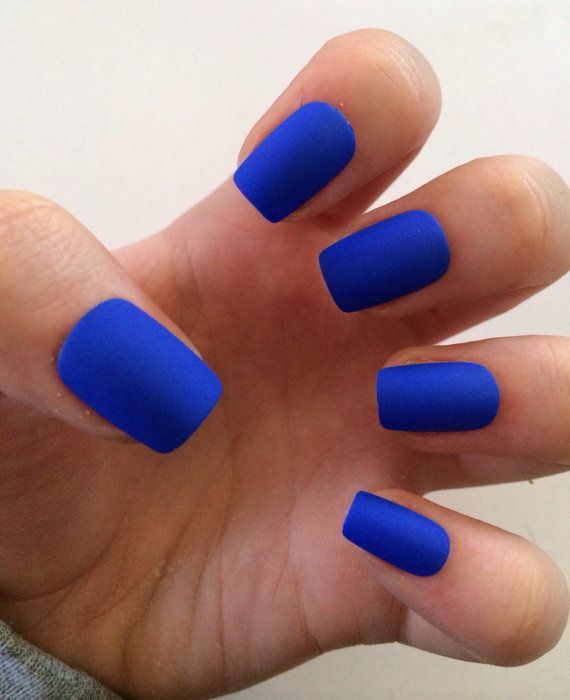 blue matte nails - blackgirlish.com