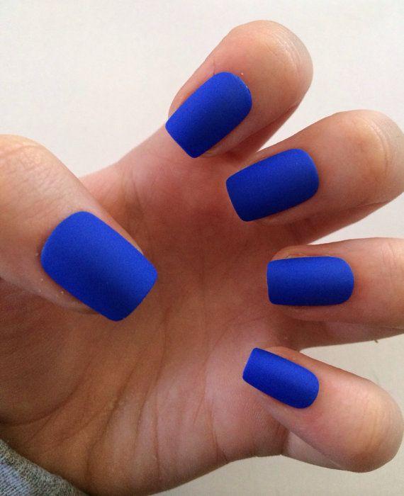 blue matte nails - blackgirlish.com
