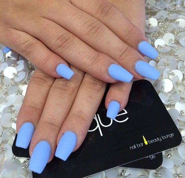 light blue matte nails - blackgirlish.com