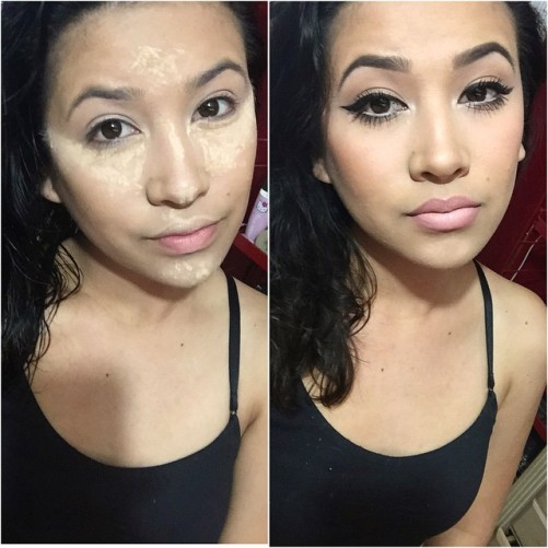Cooking. 🔥 #ThePowerOfMakeup lol #Contour #MOTD #Cooking / #Baking #Sharp #NudeLips #WingedLiner #Eyebrows #Highlight #BlushBronzer #Lipstick #Before #After #NoShame #Makeup #Love #Ready