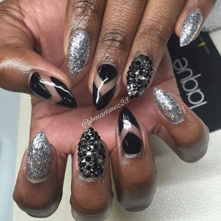Silver Bling Stiletto Nails