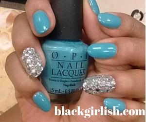 Blue Bling Nails Design-blackgirlish.com
